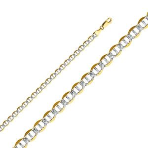 14K Yellow 5.5mm Flat Mariner Pave Chain - 24""